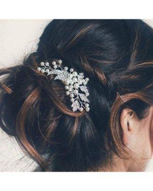 Faux Pearl & Leaf Decor Hair Comb