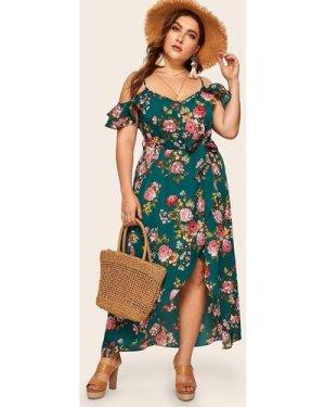 Plus Tulip Hem Ruffle Trim Floral Print Dress