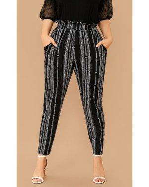 Plus Paperbag Waist Striped Pants