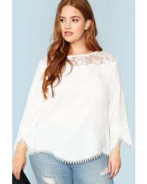Plus Sheer Shoulder Lace Trim Top