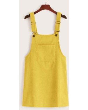 Pocket Front Corduroy Pinafore Dress