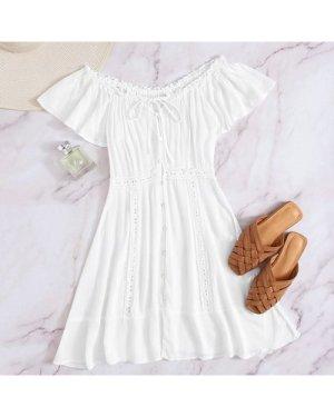 Contrast Lace Trim Button Through A-line Dress