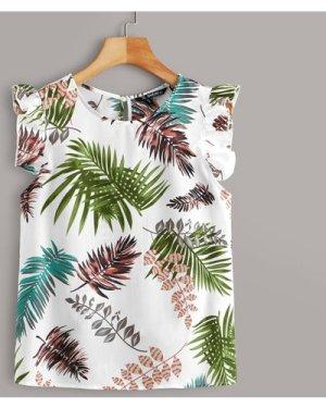 Ruffle Armhole Tropical Print Top