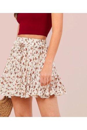 Drawstring Waist Ditsy Floral Crinkle Godet Skirt