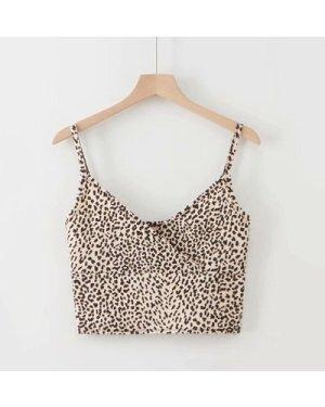 Leopard Print Surplice Cami Top
