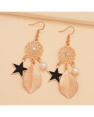 1pair Star & Leaf Drop Earrings