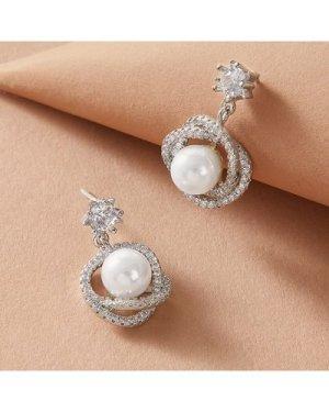1pair Rhinestone Decor Pearl Decor Drop Earrings