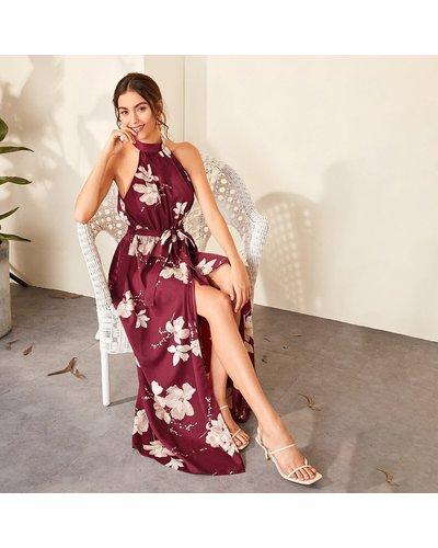Floral Print Wrap Hem Belted Halter Dress