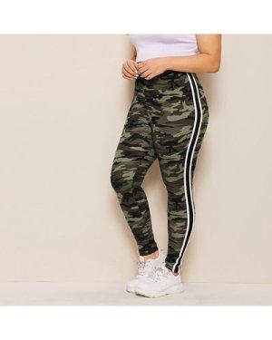 Plus Side Stripe Camo Print Leggings