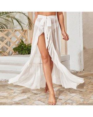 Ruffle Hem Knot Sheer Cover Up Skirt Without Bikini
