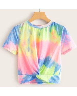 Twist Hem Tie Dye Top