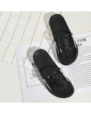 Geometric Print Clear Flat Sliders