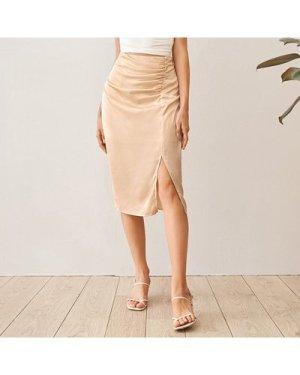 Ruched Detail Split Hem Satin Skirt