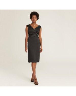 PREMIUM Surplice Neck Contrast Piping Split Hem Dress