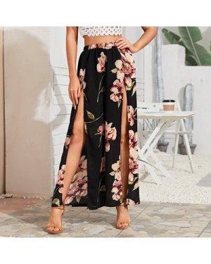 Floral Print Split Thigh Pants