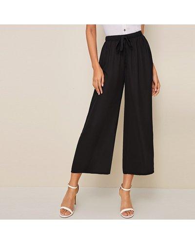 Drawstring Waist Wide Leg Pants