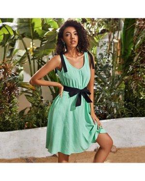 Bow Shoulder Belted Dress
