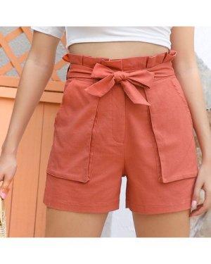 Paperbag Waist Belted Patch Pocket Shorts