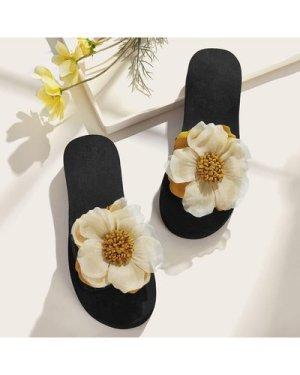 Floral Applique Open Toe Sliders