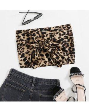 Tie Front Leopard Tube Top