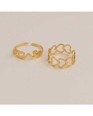 2pcs Heart Decor Ring