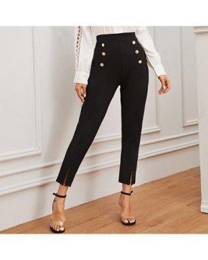 Double Button Split Hem Pants