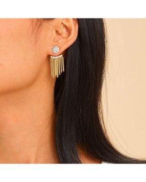 Rhinestone Detail Chain Tassel Stud Earrings 1pair