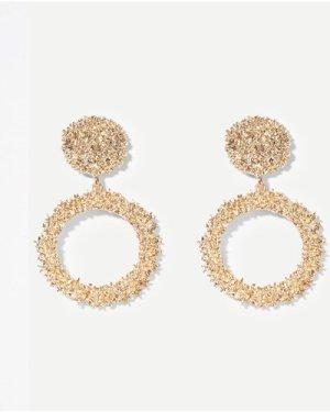Textured Round & Hoop Drop Earrings 1pair