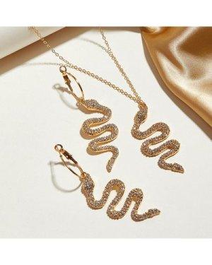3pcs Rhinestone Decor Snake Charm Necklace & Earrings