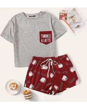 Plus Pocket Patched Top and Tie Waist Shorts PJ Set