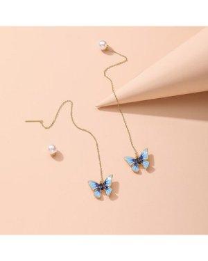 1pair Pearl Decor Butterfly Charm Threader Earrings
