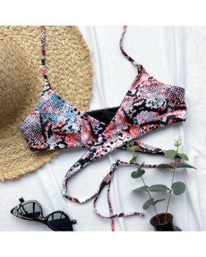Snakeskin Wrap Halter Bikini Top