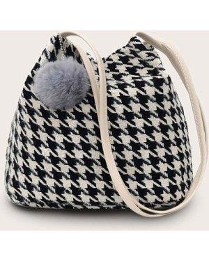 Pom Pom Decor Houndstooth Tote Bag