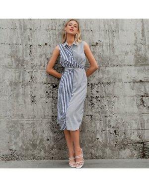 Crisscross Tie Back Striped Dress