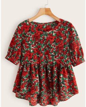 Allover Floral Print Dip Hem Babydoll Blouse