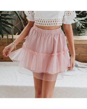 Frill Trim Dobby Mesh Layered Skirt