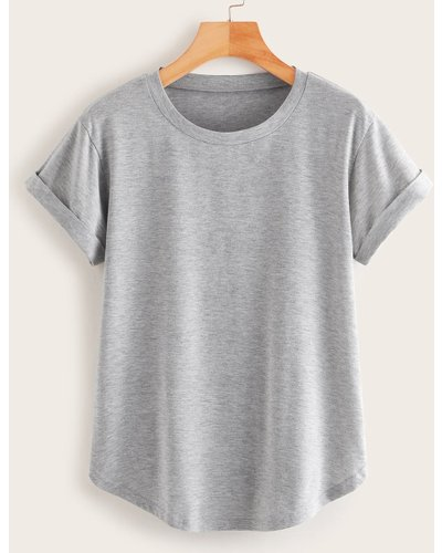 Basic Heathered Knit Rolled Cuff Curved Tee