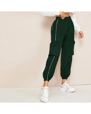 Contrast Tape Zipper Pocket Cargo Pants