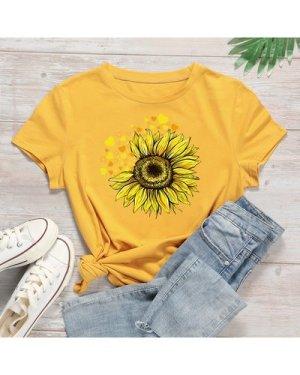 Sunflower Print Round Neck Tee