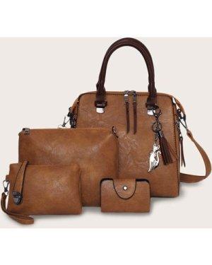 Tassel Decor Satchel Bag With Purse 4pcs