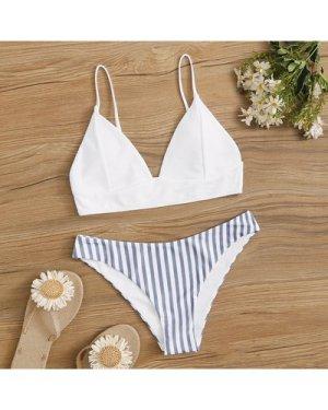 Striped Mix & Match Triangle Bikini Swimsuit