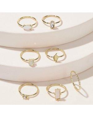 Bar & Leaf Decor Ring Set 7pcs