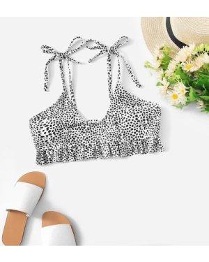 Tie Shoulder Dalmatian Print Swimming Top