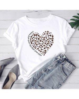 Plus Leopard Heart & Slogan Graphic Tee