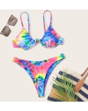 Tie Dye Underwire High Leg Bikini Swimsuit