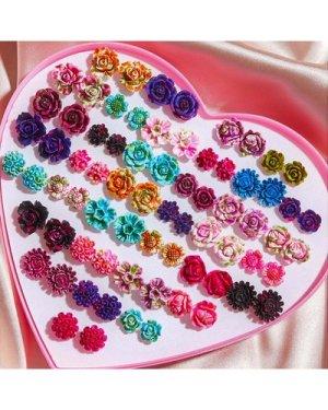 36pairs Flower Design Stud Earrings