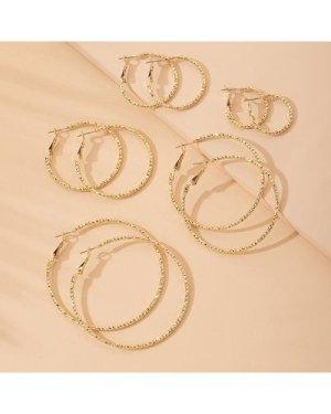 5pairs Solid Hoop Earrings