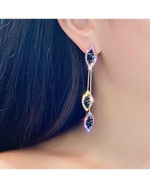 1pair Crystal Charm Leaf Shaped Drop Earrings
