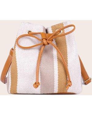 Colorblock Drawstring Decor Crossbody Bag