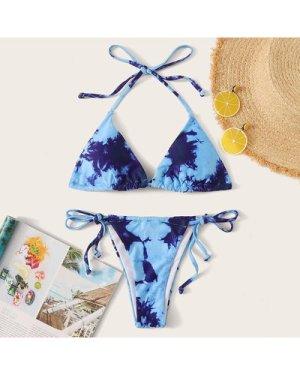 Tie Dye Halter Tie Side Bikini Swimsuit
